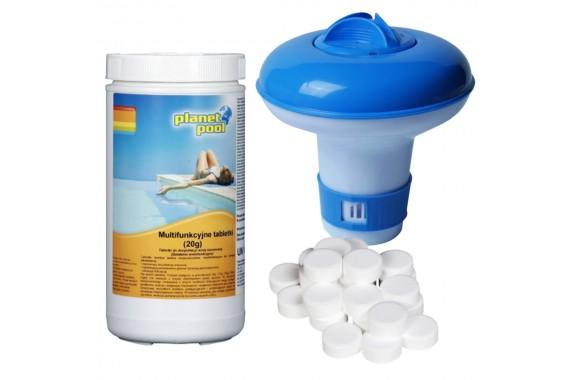 Zestaw Tabletki Chlorowe Multifunkcyjne T (20g) 1 Kg + Boja Dozująca Mała