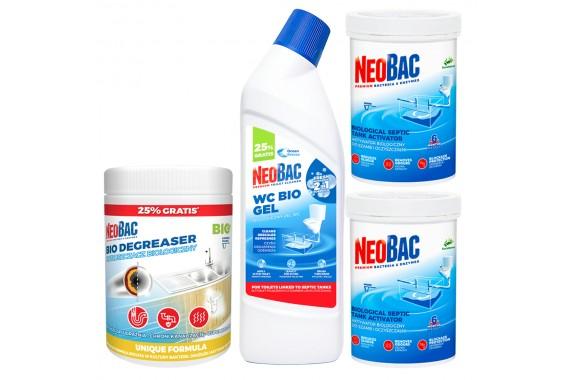 Neobac 1,2 kg + Neobac Odtłuszczacz + Neobac Żel WC 2w1