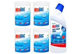 Zestaw NeoBac Aktywator 4x600g + Bio Żel WC 750 ml Nowa Formuła