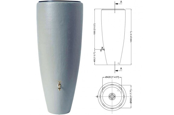 Garantia zbiornik na deszczówkę 2w1 Szary Cynk 300L z wkładem