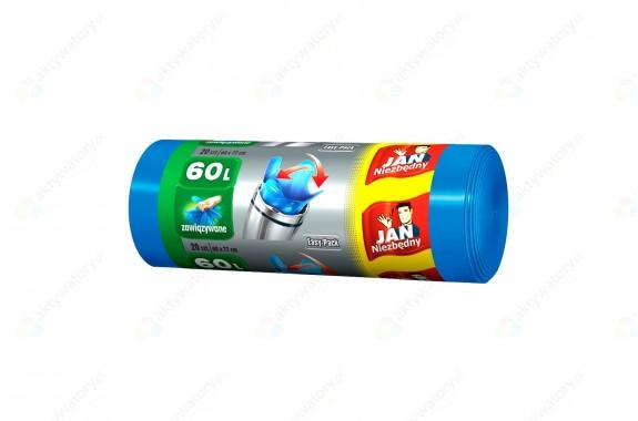 Jan Niezbędny Worki na śmieci Easy Pack niebieskie 60l zawiązywane 20 szt