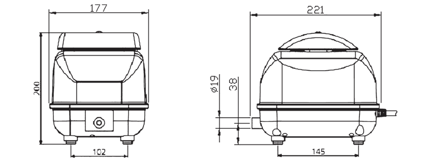 SECH dmuchawa membranowa JDK-30 wymiary